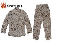 Men's Combat Mandarin Collar Button Jacket Long Cargo Pant Paintball Airsoft Ghillie Suit Military Tactical Training Uniform Set