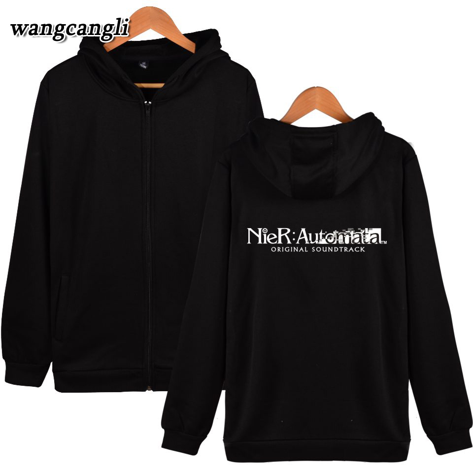 2017 Nier Automata Hooded Women Hoodies Zipper Hip hop hoodies men Cotton Funny Clothes 4XL Jacket Sweatshirt Nier Automata