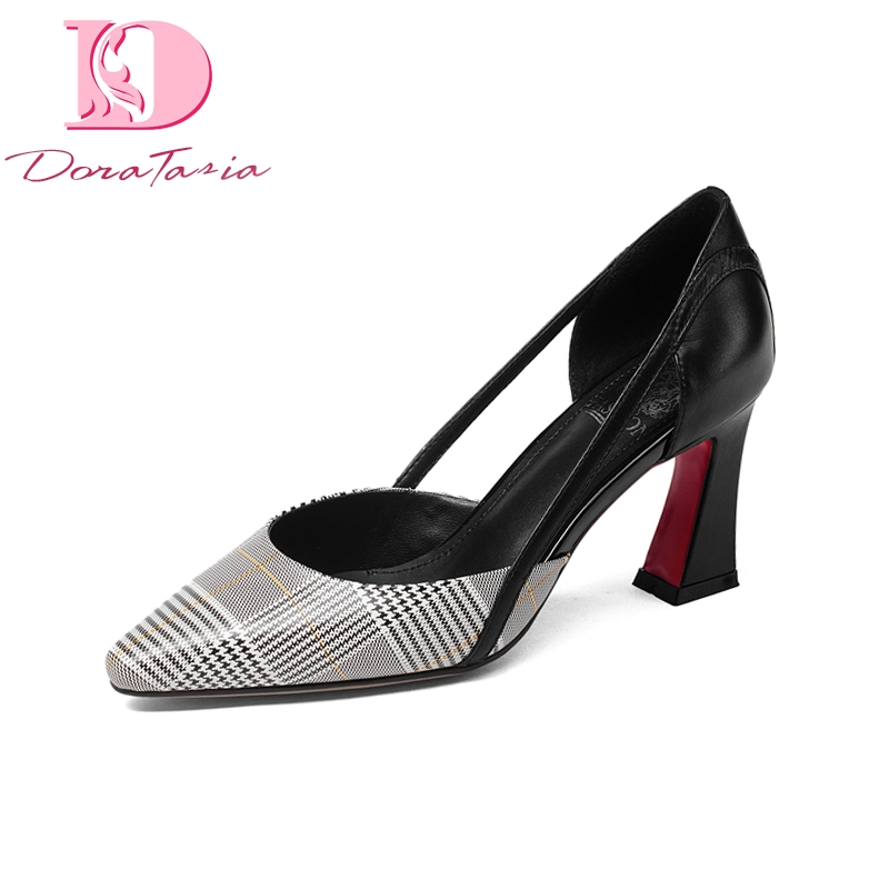 цена DoraTasia New Fashion Genuine Leather Plaid Square High Heels Shoes Woman Casual Spring Pumps Big Size 33-43