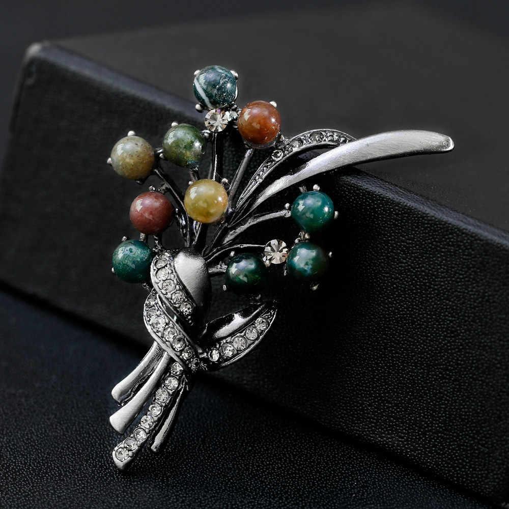 Olowu Warna Perak Antik Bunga Daun Bros Pin Alam Batu Manik-manik Buket Bros Vintage Wanita Suit Perhiasan Aksesoris