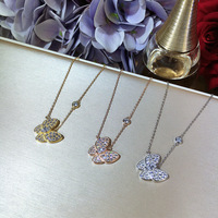 New Arrival Fashion Women Zircon Butterfly Pendant Authentic 925 Sterling Silver Link Necklace Elegant Choker Necklace