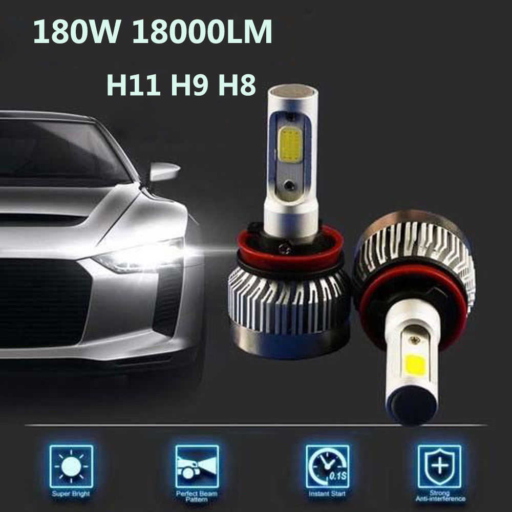Auto H11 LED Car Headlights 180W 6000K 12 V COB Car Bulbs 2 Sides White  Diodes Replace Car Light Parts Lamps