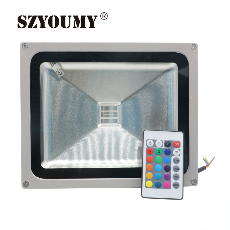 SZYOUMY RGB LED Flood Light 10W 20W 30W 50W 70W 100W LED Exterior Spotlight IP65 LED Outdoor Reflector Floodlight Remote Control