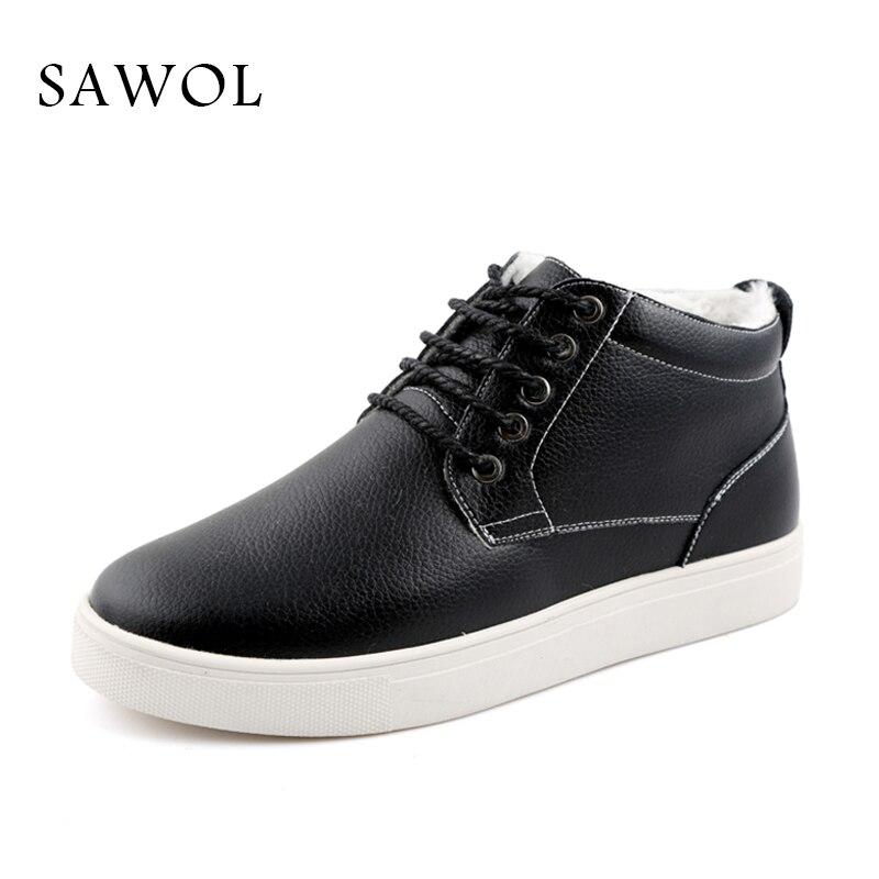 Sneakers Men Quente Sawol Pu Sapatos Qualidade Além Size Casuais Slip Da Masculinos Marca Alta Black 47 Big Homens Plush Flats On blue Inverno 48 4zp8qwwn7