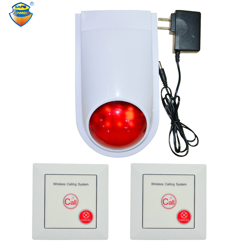 (1 set) Wireless Calling system Emergency Button to Louder Speaker 110DB Strobe siren 86mm wall-mounted Switch Security alarm 2 receivers 60 buzzers wireless restaurant buzzer caller table call calling button waiter pager system