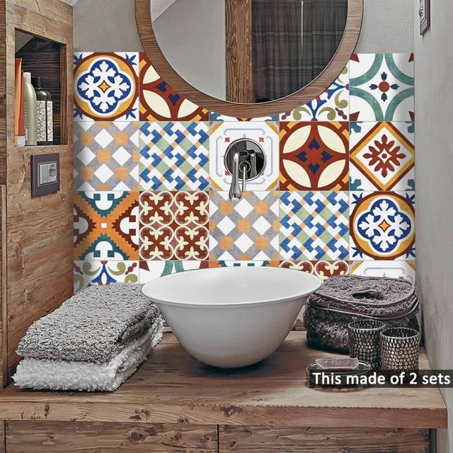 Funlife イスラムトルコタイルステッカー、防水浴室のステッカー、自己粘着装飾キッチンタイル壁の家具のステッカー