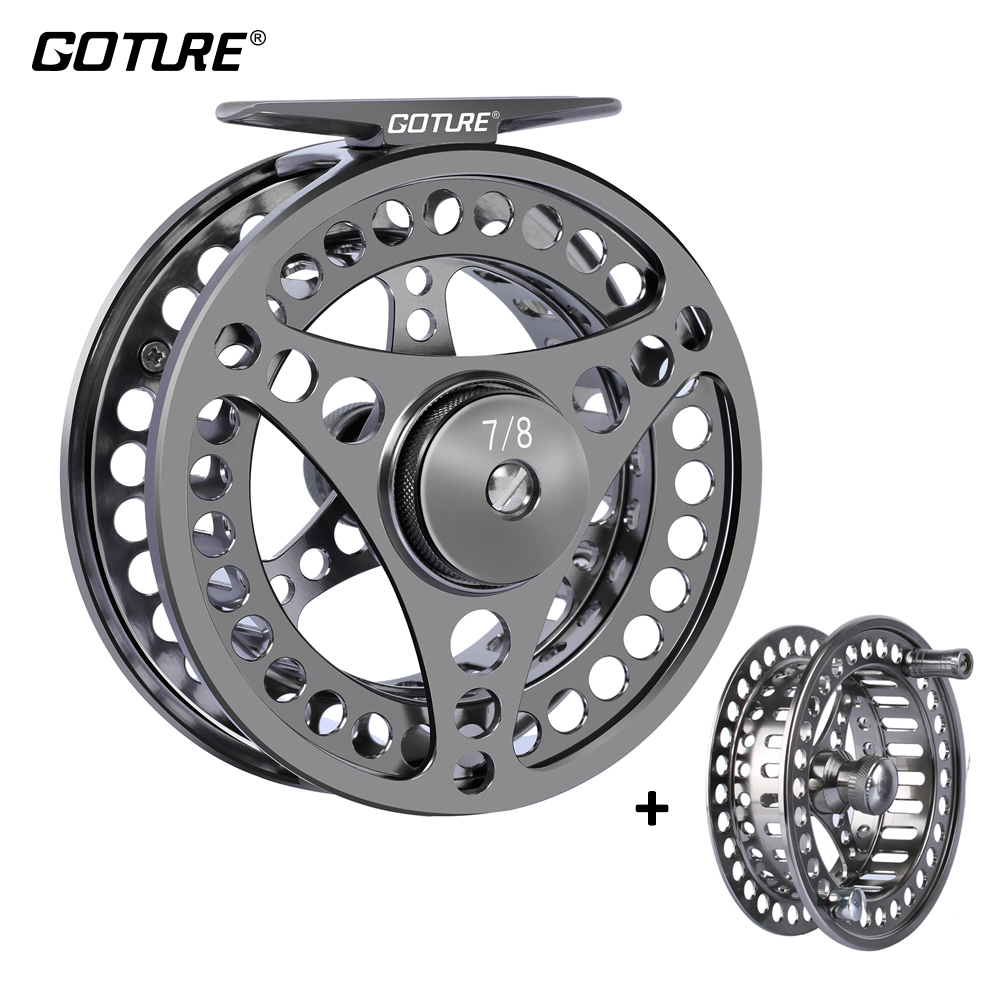 цена на Goture 3/4 5/6 7/8 9/10 WT Fly Fishing Reels CNC-machined Large Arbor Fly Reel 2+1BB 1:1 For Trout Fishing Accessories