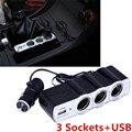1Pcs 12V Car Cigarette Lighter Plug 3 Way Charger USB Triple Socket Splitter  Car Socket Adapter Car Styling Free Shipping