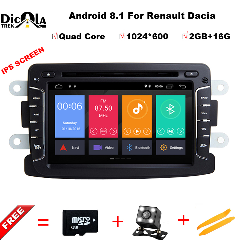 IPS Quad Core Pure Android 8.1 GPS Navigator Radio car dvd For Dacia Renault Duster Logan Sandero stereo Central Cassette Player android 7 1 1 car dvd player gps glonass navigation for renault dacia duster sandero lodgy dokker multimedia video radio stereo