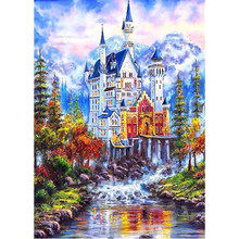 Diamond Embroidery Landcape Diamond Painting Cross Stitch Wall Decor Diamond Mosaic Mountain Castle Winter Round Drill YY(China)
