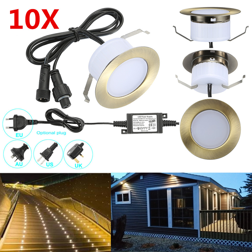 10pcs/lot 61mm 12V IP67 Bronze Kitchen Outdoor Terrace Pathway Stair Step LED Deck Rail Inground Recessed Lights Cabinet Lamp