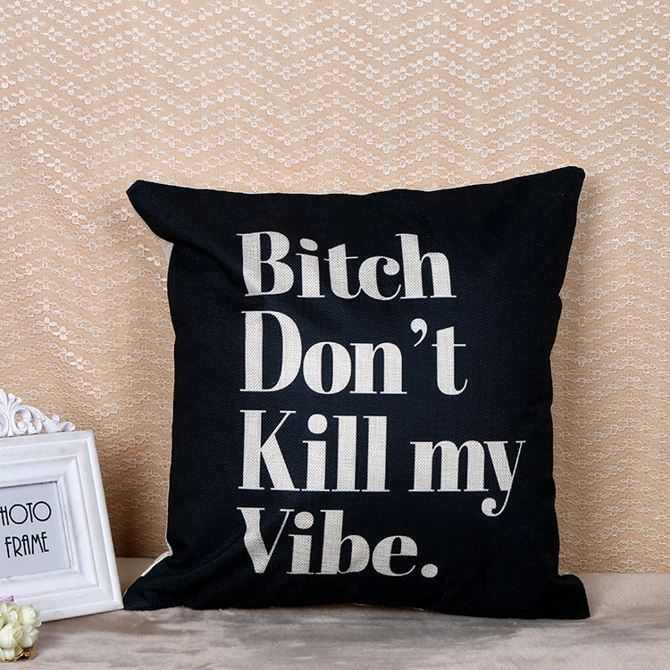 CAMMITEVER English Letter B*tch Cushion Cover Decorative Pillow Case Pillow Flax Cushion ...