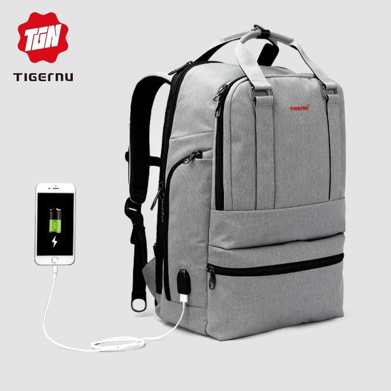 Bagaj ve Çantalar'ten Sırt Çantaları'de Tigernu Anti hırsızlık seyahat sırt çantası erkek Oxford Su Geçirmez USB Şarj Kilidi Büyük Kapasiteli Sırt Çantası Üst Kolu mochila masculina'da  Grup 1