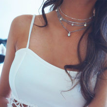 2019 New Bohemian Fashion Star Choker Necklace for Women Silver Multi-layer Oval Opal Pendant Necklace Female Collar Jewelry(China)