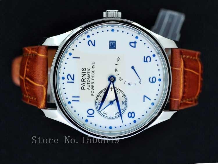 Parnis 43mm withe 다이얼 파워 리저브 자동식 블루 핸드 mens 기계식 스틸 시계 1270-에서기계식 시계부터 시계 의  그룹 1