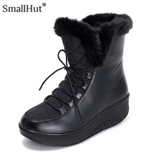 Lace Up Platform Snow Boots Women Winter Fashion PU Flat Shoes D073 Fashion Ladies Black White Plush Warm Round Toe Ankle Boots цена