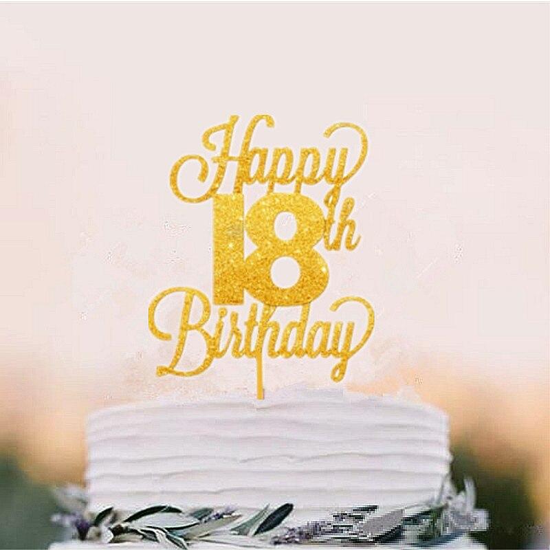 Happy 18th Birthday Cake Topper Eighteen Daughter Son Nephew Niece Glitter Acrylic