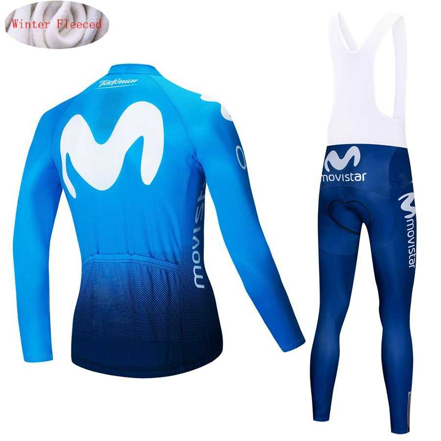 ... 2018 Movistar Winter Thermal Fleece Long Sleeves Cycling Jersey Set Men  Clothing Bike Clothes Wear Bicycle ... a22ca32b6