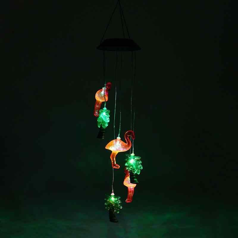 Напольный Солнечный Фламинго дерево света wind chime LED многоцветные ветер spinner свет для патио wind chime свет