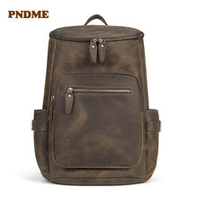 PNDME retro crazy horse leather Mens backpack large capacity genuine casual bookbags simple laptop bagpack high quality