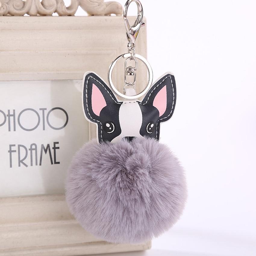 Pink Rabbit Fur Ball Dog Keychain Pompom key chain pompon porte clef Fluffy Leather Key ring