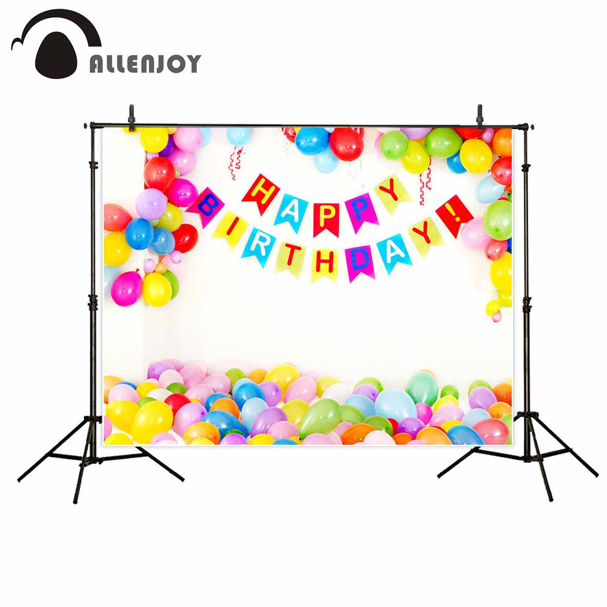Allenjoy photographic background Decorative balloon white children birthday new backdrop photocall photo printer customize