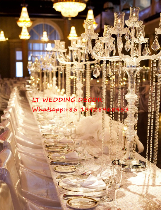 Aliexpress Buy 7 Arms Crystal Glass Wedding Table Candelabra Centerpiece Candle Holder Flower Pillar Stand From Reliable Suppliers On LT