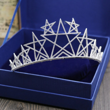 New Arrival Lucky Star Shape Bridal Hair Accessories Tiaras Beauty Party Show Cubic Zirconia Crown Fashion Jewelry H-017