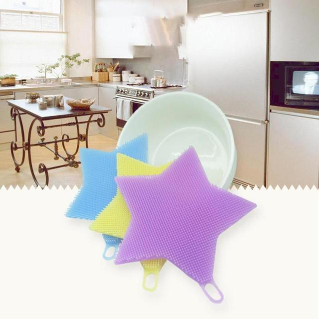 Silicone multifunctional five stars bowl brush cleaning appliances brush creative silicone dishes brush kitchen helper 1 PC  5