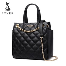 FOXER Brand Women Lattice Bag Crossbody Bag Large Capacity Lady Bucket bag Fashion Chain shoulder strap Shoulder Bags for Girl