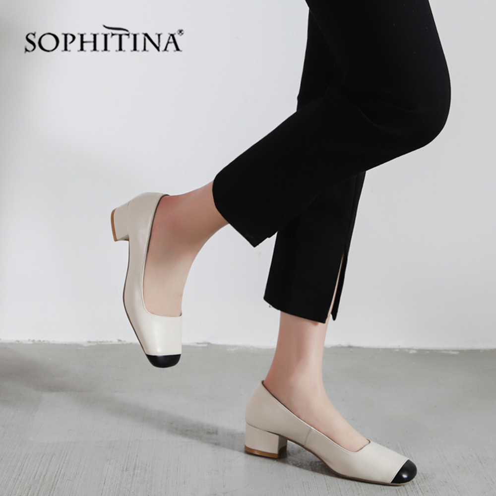 SOPHITINA Fashion Shallow Women s Pumps Med Square Heel Classics Design Hot Sale Shoes Square Toe