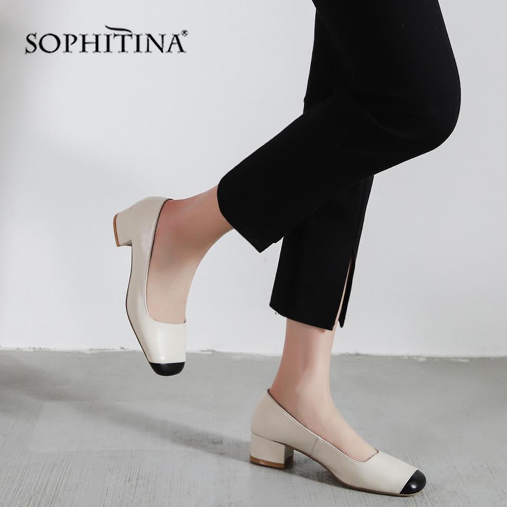 SOPHITINA de moda superficial de las mujeres bombas de tacón cuadrado clásicos de diseño de la venta caliente zapatos del dedo del pie cuadrado Slip Nuevo verano bombas SO138-in Zapatos de tacón de mujer from zapatos on AliExpress - 11.11_Double 11_Singles' Day 1