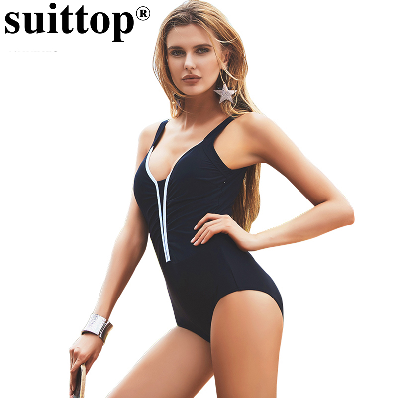 suittop 2018 Women Backless Swimwear Solid High Cut Bathing Suit Vintage Padded One Piece Swimsuit Patchwork Monokini Beach Wear print black one piece swimwear women padded sexy swim suit backless sport swimsuit high cut monokini bathing suit thong swimsuit