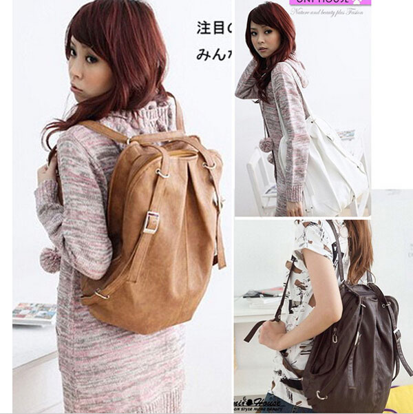 Free shippng 50pcs lot Fashion Korean Style Girls PU Leather Backpack Schoolbag Shoulders Bag Camel Coffee