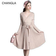 CHANGLA 2016 Autumn Women's Fashion Sweaters Dresses A-line Deep V Neck Belted Pleated Vintage Dress Long Sleeve Knitting Dress