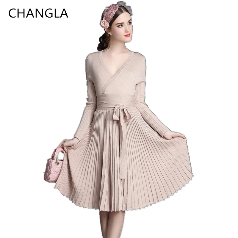 CHANGLA Spring Autumn Women Fashion Sweaters Dresses A ...