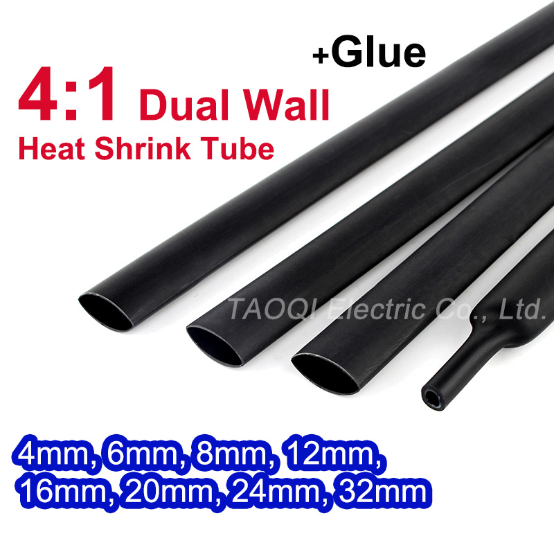 Tube thermorétractable avec colle adhésive doublé 4:1 double paroi manchon de tuyauterie kit de câble métallique 4mm 6mm 8mm 12mm 16mm 20mm 24mm 32mm