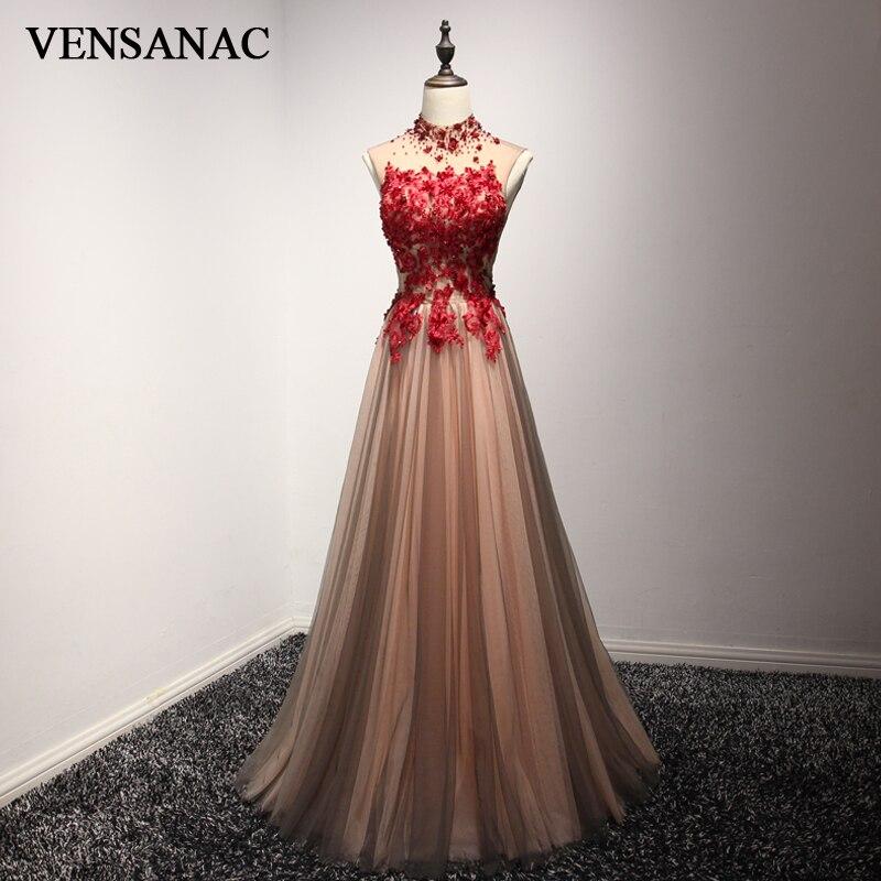VENSANAC 2018 High Neck Luxury Crystal En Line Long Evening Dresses - Särskilda tillfällen klänningar - Foto 1