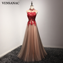 VENSANAC 2018 High Neck Luxury Crystal En Line Long Evening Dresses Party Lace Appliques Öppna Tillbaka Blommor Prom Gowns