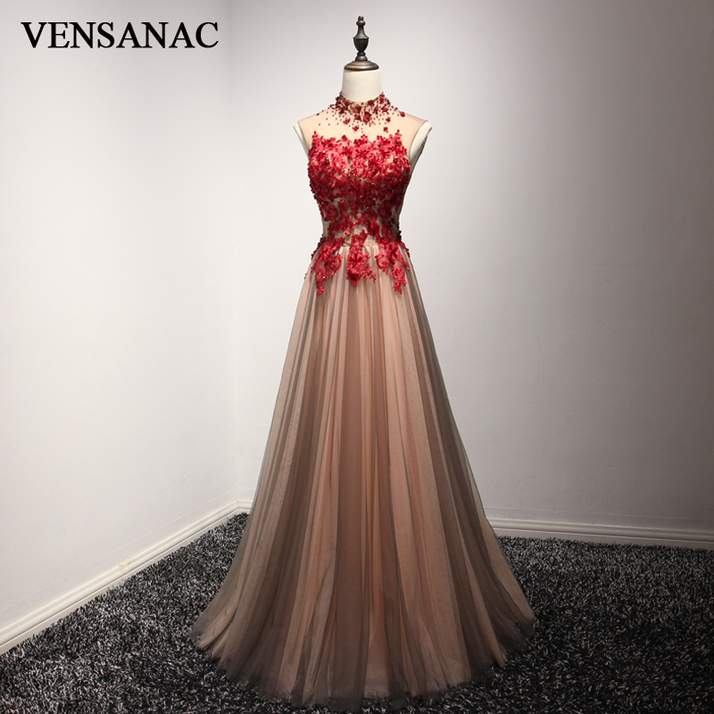 VENSANAC High Neck Luxury Crystal A Line Long Evening Dresses Party Lace Appliques Open Back Flowers Prom Gowns