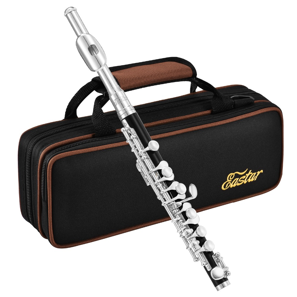 Eastar Piccolo Half-size Flute C Key Professional Cupronickel Silver Plated ABS Piccolo + Case Cleaning Tool Woodwind InstrumentEastar Piccolo Half-size Flute C Key Professional Cupronickel Silver Plated ABS Piccolo + Case Cleaning Tool Woodwind Instrument