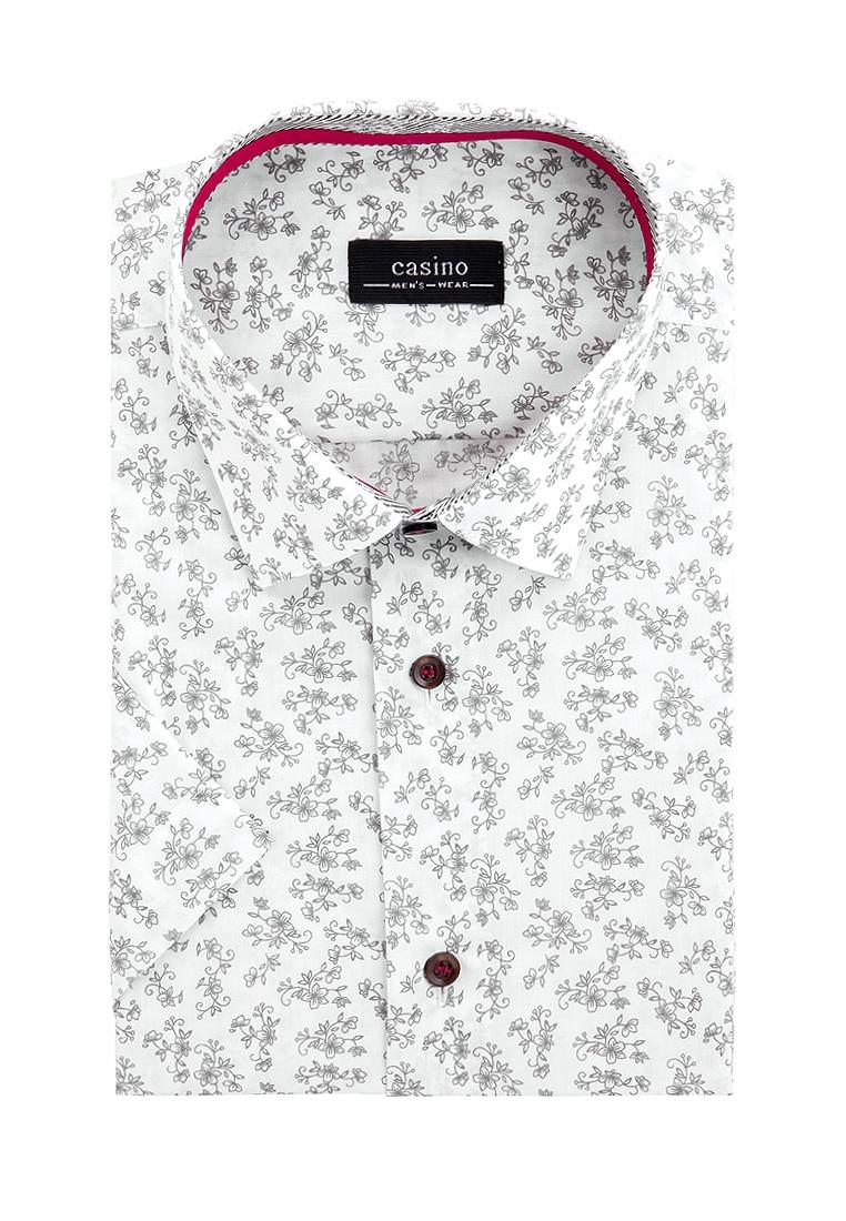 Shirt men's short sleeve CASINO c133/05/511/Z/1 p White v neck flower and bird print plus size short sleeve men s t shirt