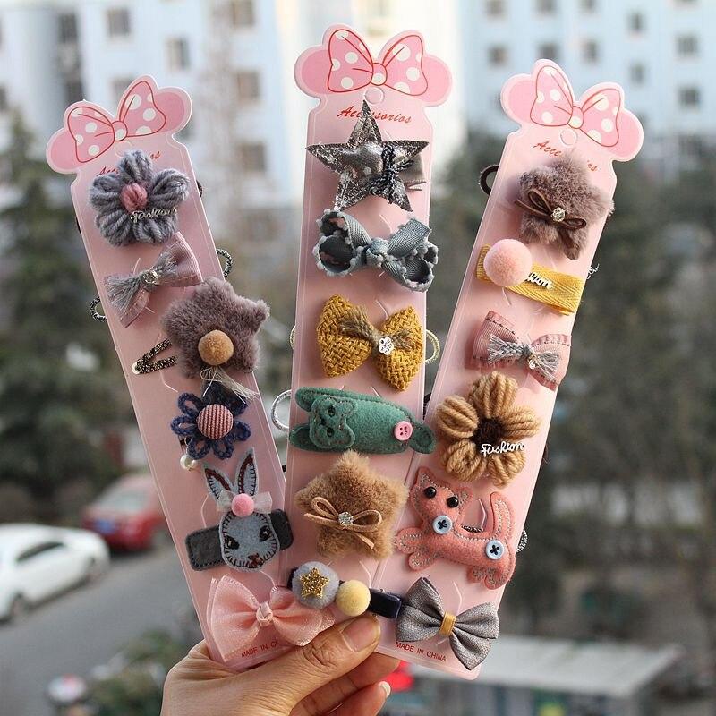 MIXIU 6pcs Cartoon Rabbit Bow Star Hair Clip Pom Pom Hairpin + Elastic Hair Bands Ponytail Holder For Baby Girl Hair Accessories