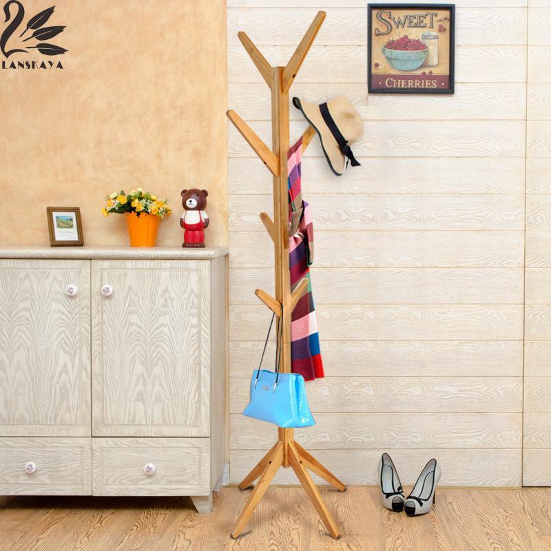 2017 Promotion Real Appendiabiti Con Piantana Quality Coat Rack Modern Simple Bamboo Clothes Hanger Furniture Tree Hook lanskaya creative modern minimalist fashion mobile landing tree coat hook home furniture clothes hanger