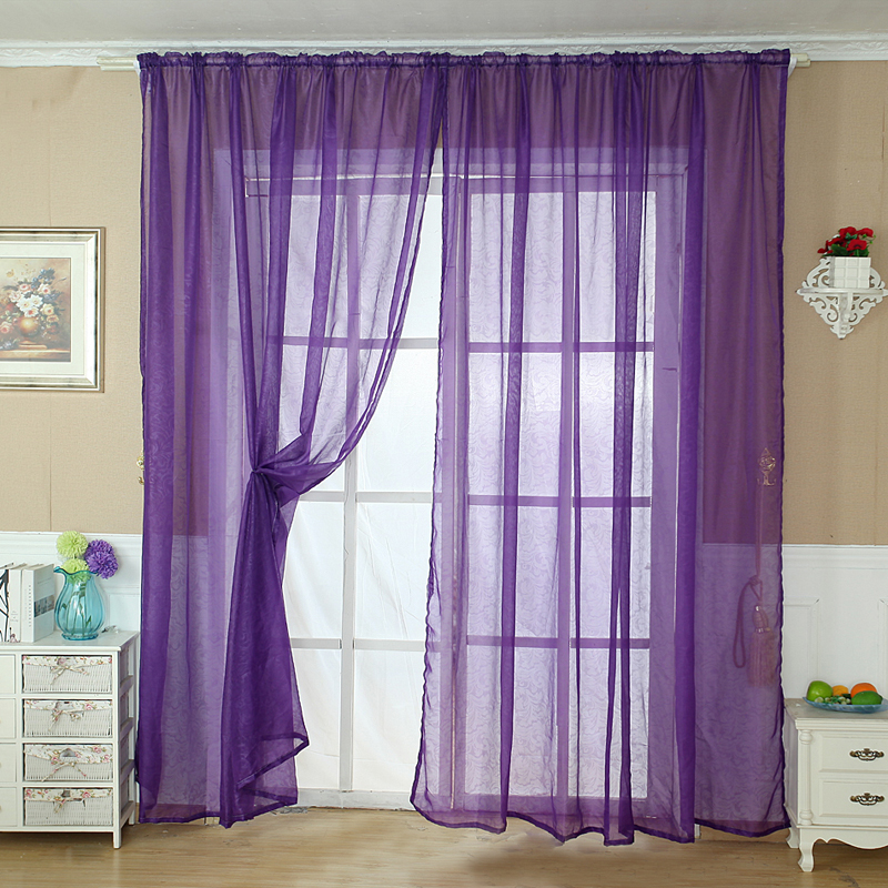 Curtain-Drape Valance Panel Sheer Window Tulle Brown White Door Romantic Blue Red Solid title=