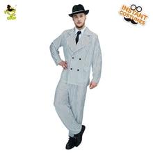 Luxus Férfi Gengszter Jelmez Halloween Karneváli Póló Slim Fit Outfit Film Star Jóképű ember Cosplay Gengszter jelmezek