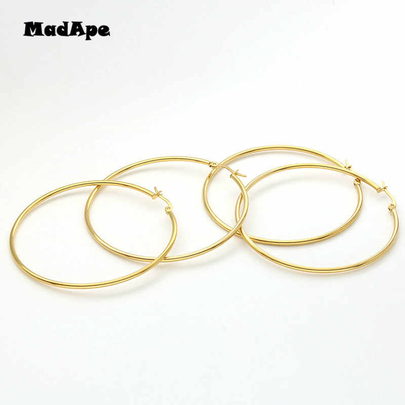 MadApe Pendientes Mujer Hoop Earrings Stainless Steel Gold/Silver Color Circle Basketball Earring For Women /Girl Jewelry