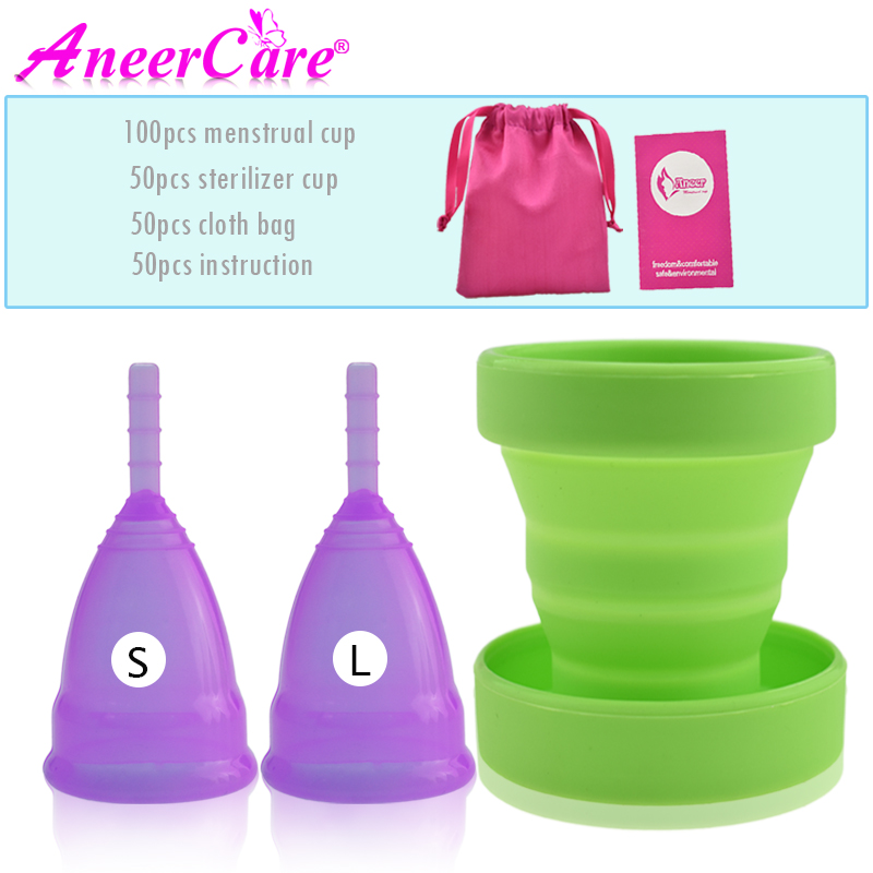 100pcs Menstrual Cup Feminine Hygiene Silicone Collector Menstrual de Medica Sterilizer Collapsible cup Recyclable Camping Cups