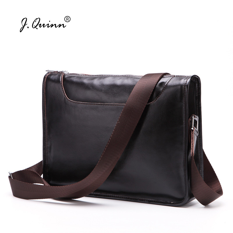 J.Quinn New Mens Genuine Leather Shoulder Bags Handbags Cowhide Male Small Crossbody Bag Fashion Business Casual Handbag for Men