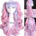 Бесплатная доставка 115 см вьющиеся градиент синтетические волосы длинные синий розовый лолита аниме косплей парик хвостики